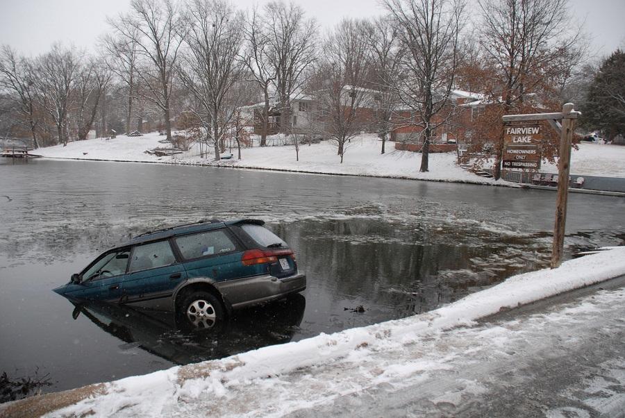 car in a lake